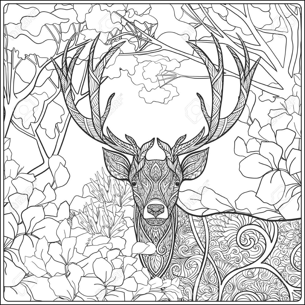 Coloring Page With Deer In Forest. Coloring Book For Adult And ...
