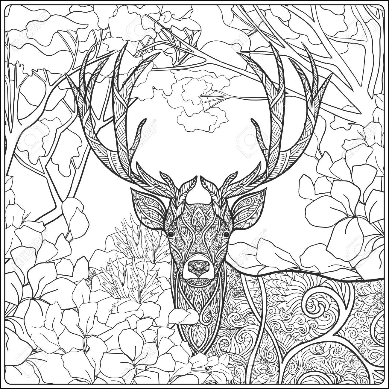Dibujo Para Colorear Con Los Ciervos En El Bosque. Libro De ...