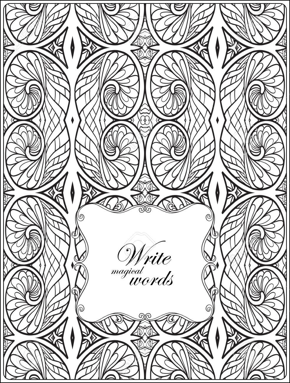 Ornamentales Muster Mit Dekorativen Rahmen Für Den Text. Anti-Stress ...