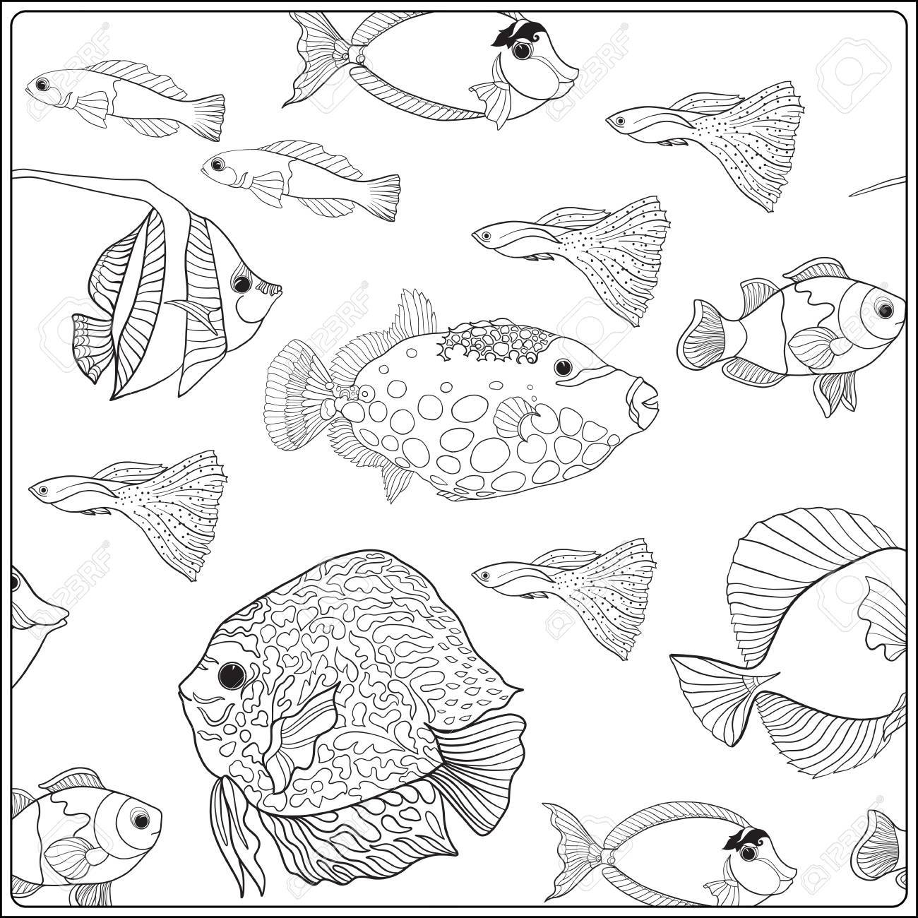 Pattern With Decorative Corals And Sea Or Aquarium Fish Vector