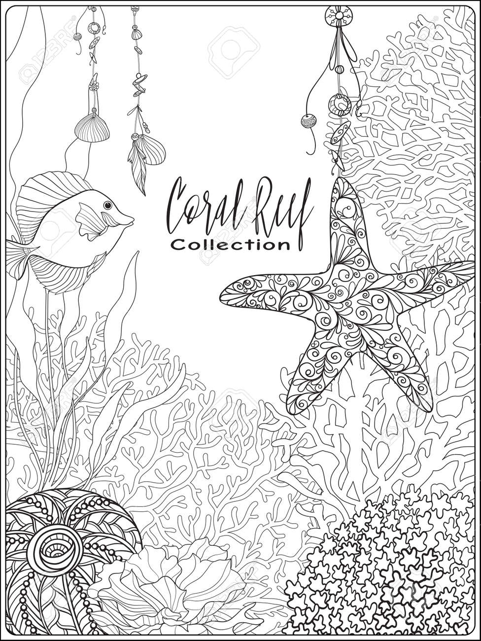 Adult Coloring Book. Coloring Page With Underwater World Coral ...   1300x975