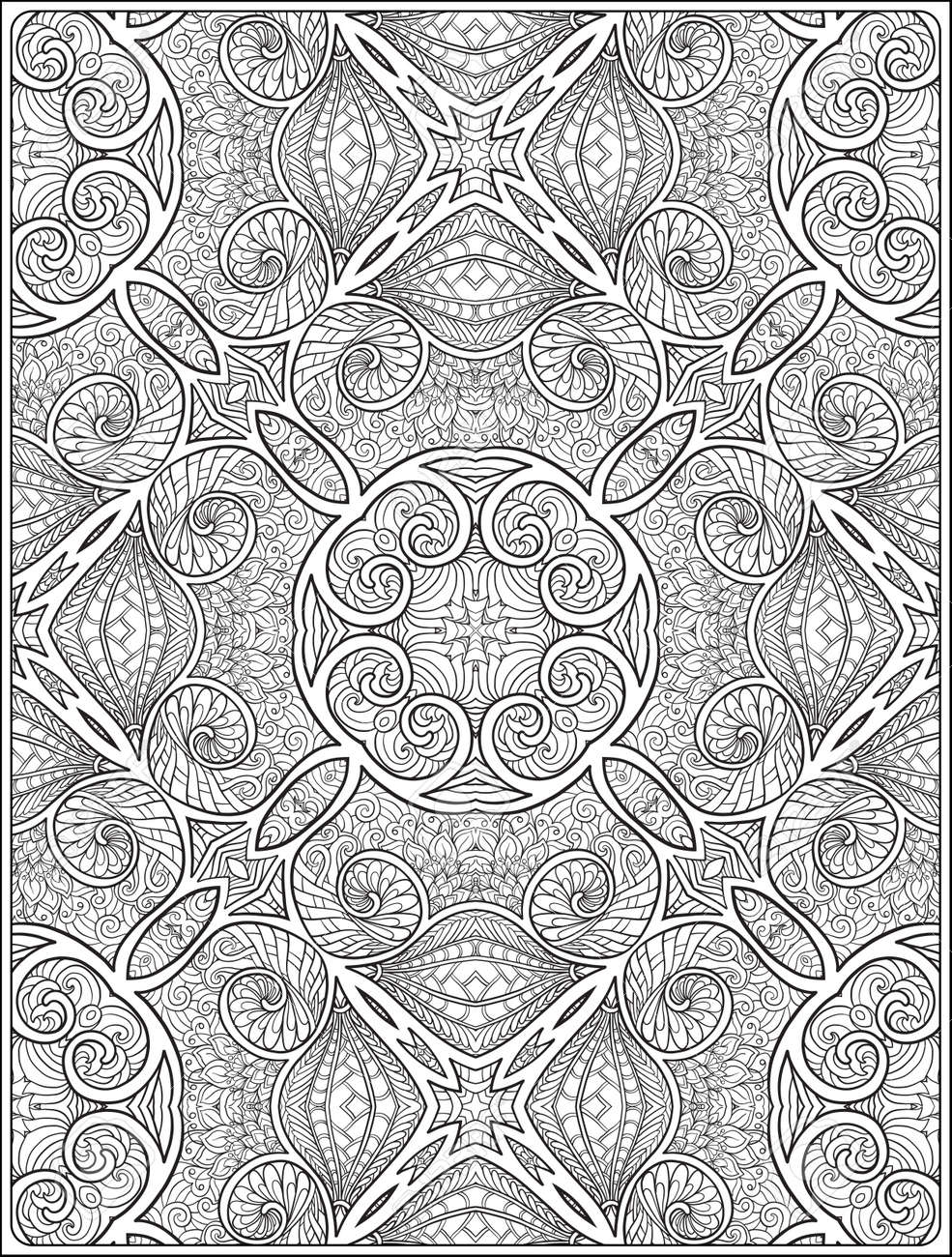 Ornamental Pattern Antistress Relaxation Coloring Book For Adult And Older Children Outline Drawing Page