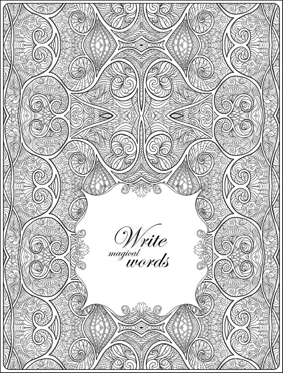 Kleurplaten Voor Volwassenen Met Tekst.Sier Patroon Met Decoratieve Frame Voor Tekst Anti Stress