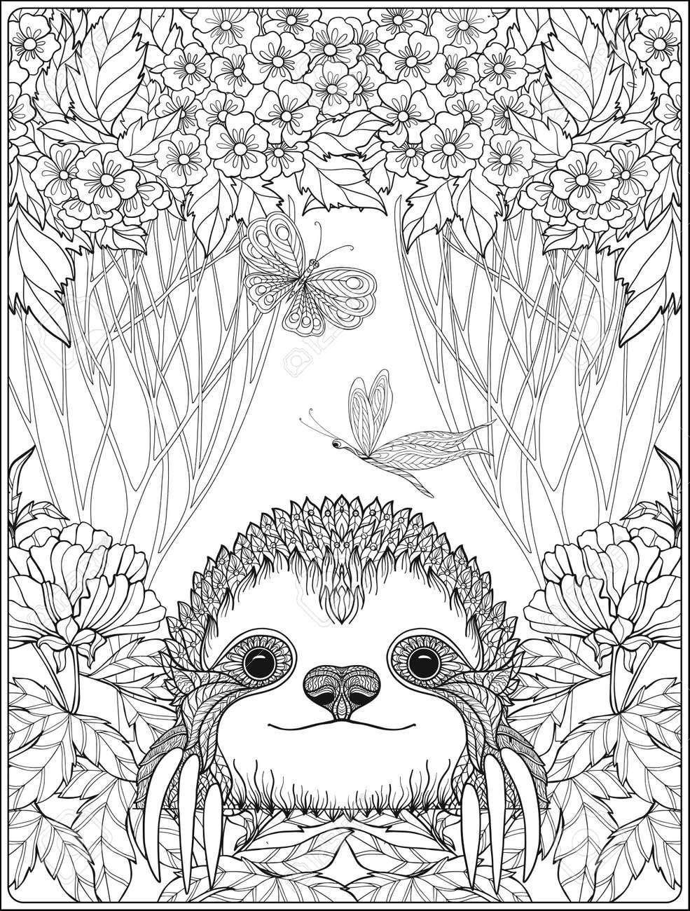 Página Para Colorear Con La Pereza Preciosa En El Bosque. Libro De ...