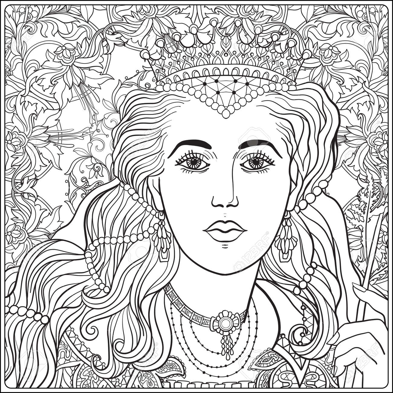 Queen on medieval floral pattern background. Coloring book for adult and older children. Outline drawing coloring page. - 63602184
