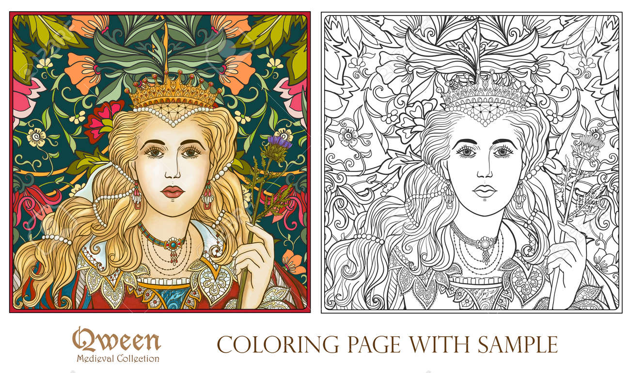 Queen On Medieval Floral Pattern Background. Coloring Book For ...