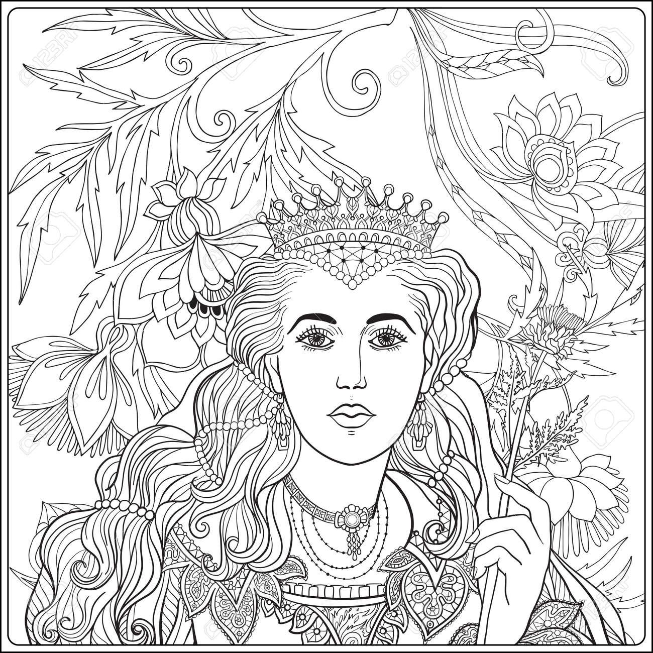 Reine Sur Medieval Floral Motif De Fond Livre A Colorier Pour Les Adultes Et Les Enfants Plus Ages Outline Dessin De Coloriage Page Clip Art Libres De Droits Vecteurs Et Illustration