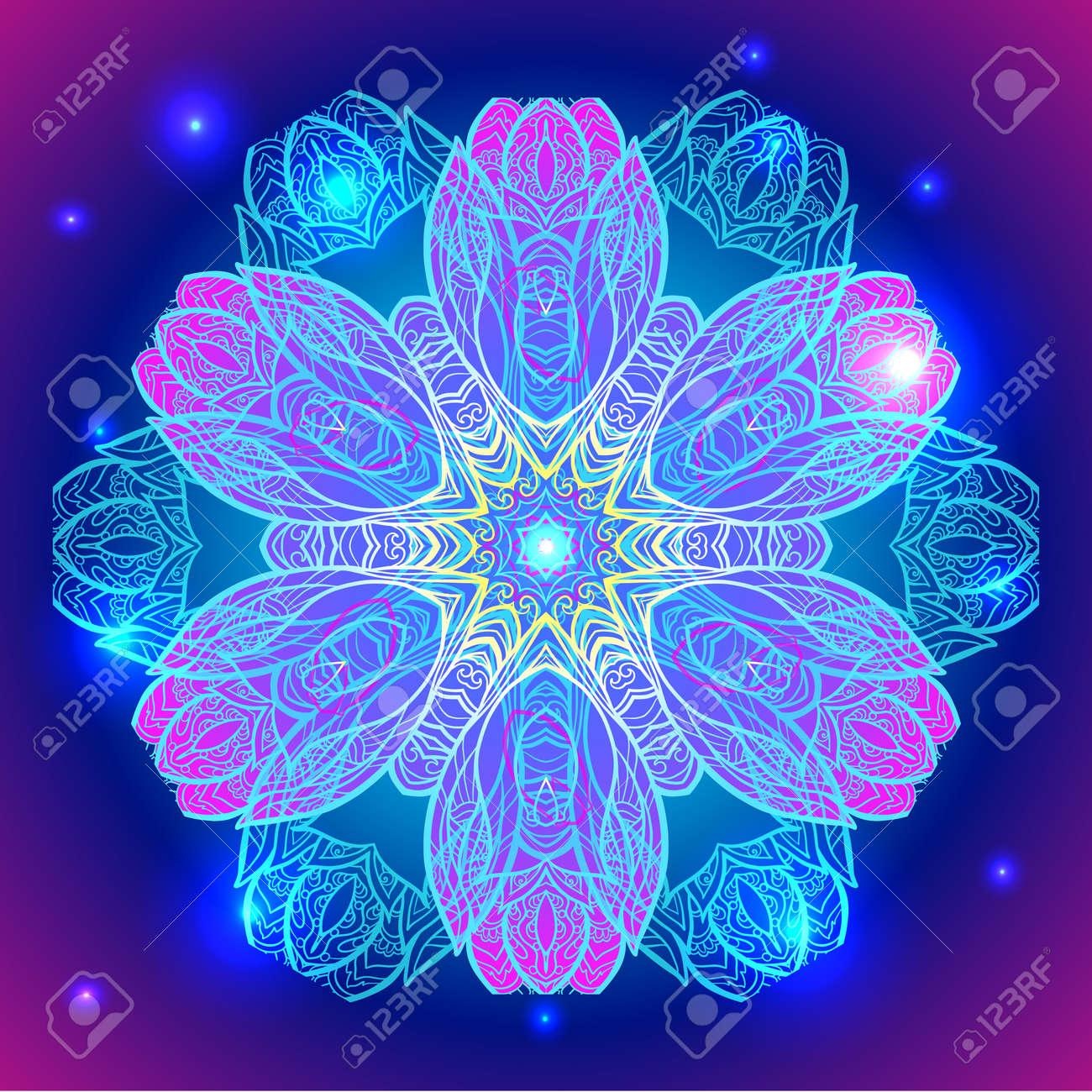 mandala sacred geometry symbol in neon colors royalty free cliparts
