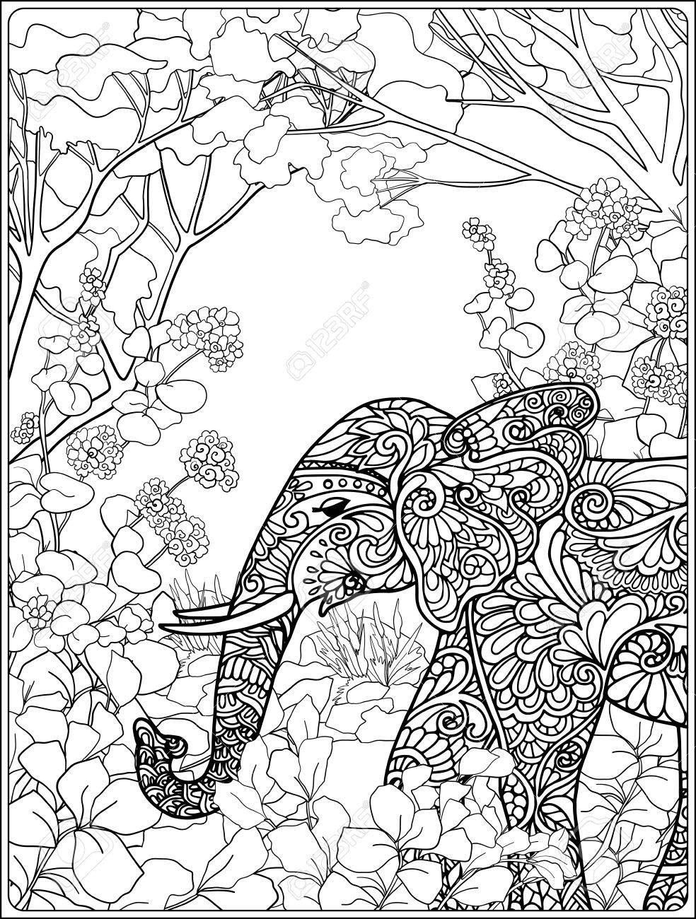 Dibujo Para Colorear Con El Elefante En El Bosque Libro De Colorante Para Los Adultos Y Niños Mayores