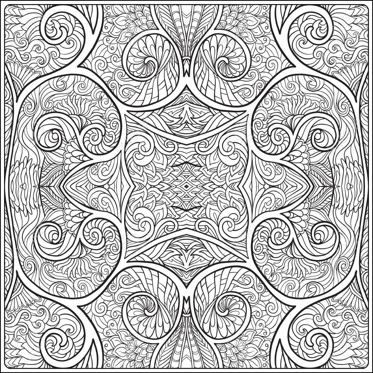 Ornamental Tribal Seamless Pattern Coloring Book For Adult And