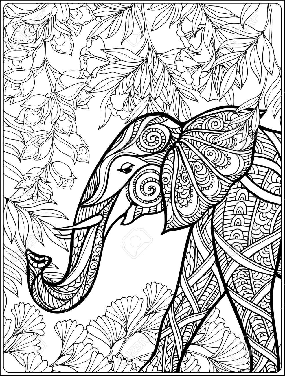 Coloriage Adulte Foret.Coloriage Avec Des Elephants Dans La Foret Livre A Colorier Pour Les Adultes Et Les Enfants Plus Ages