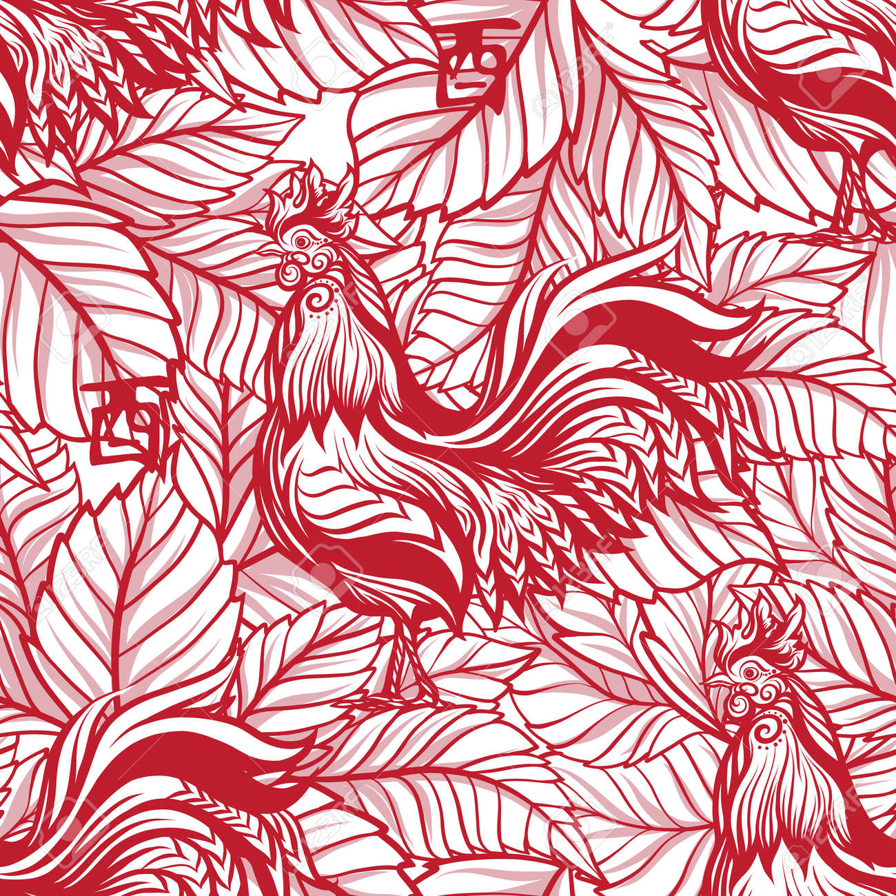 Seamless Pattern With Decorative Rooster In Chinese Style Chinese