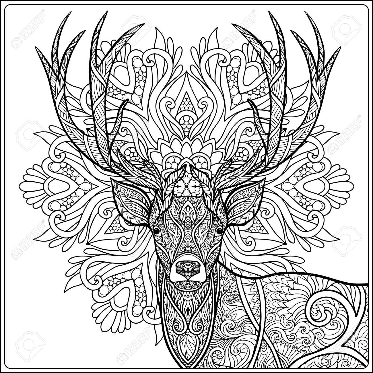 Dibujo Para Colorear Con El Fondo Ciervos Om Mandala. Libro De ...