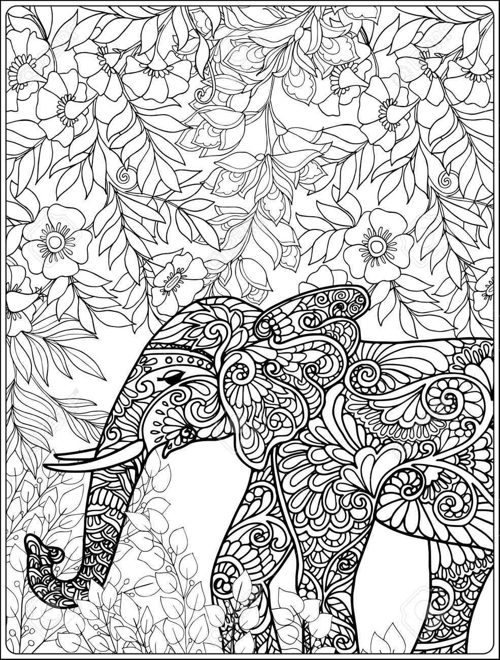 Malvorlage Mit Elefanten Im Wald Malbuch Für Erwachsene Und ältere