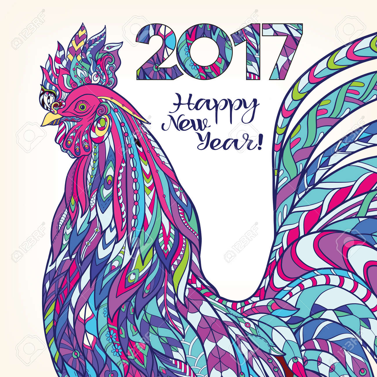 Decorative colored Rooster. Chinese New Year Symbol 2017 New Year. - 63602477
