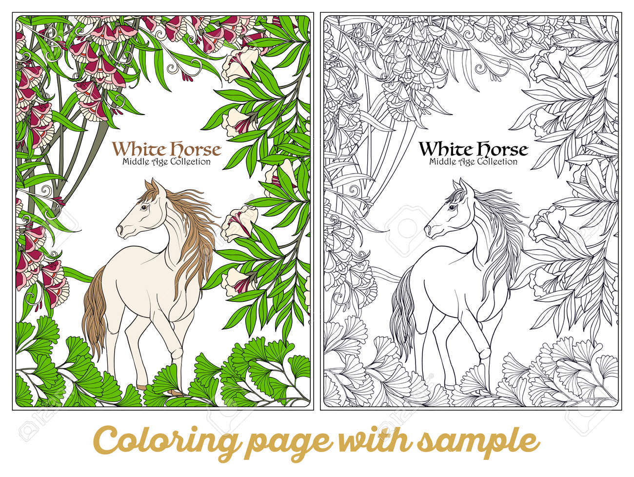 Horse In Garden. Illustration. Coloring Book For Adult And Older ...