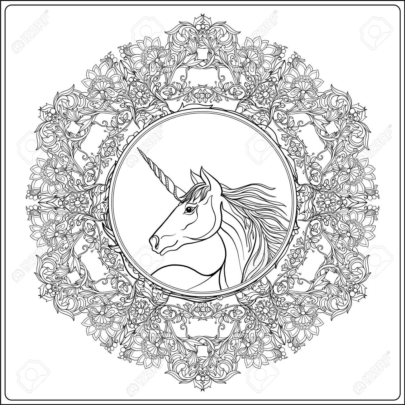 Unicorn in vintage decorative floral mandala frame. illustration...