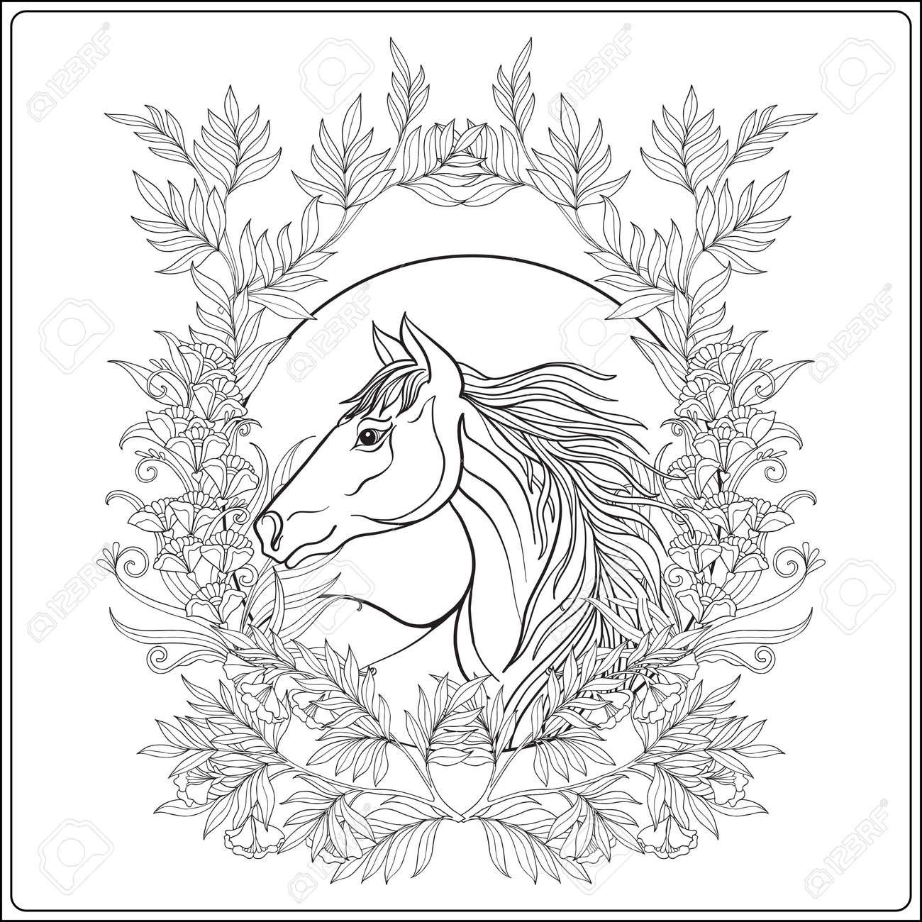 Pferd In Vintage Dekorative Blumen Mandala Rahmen. Illustration ...
