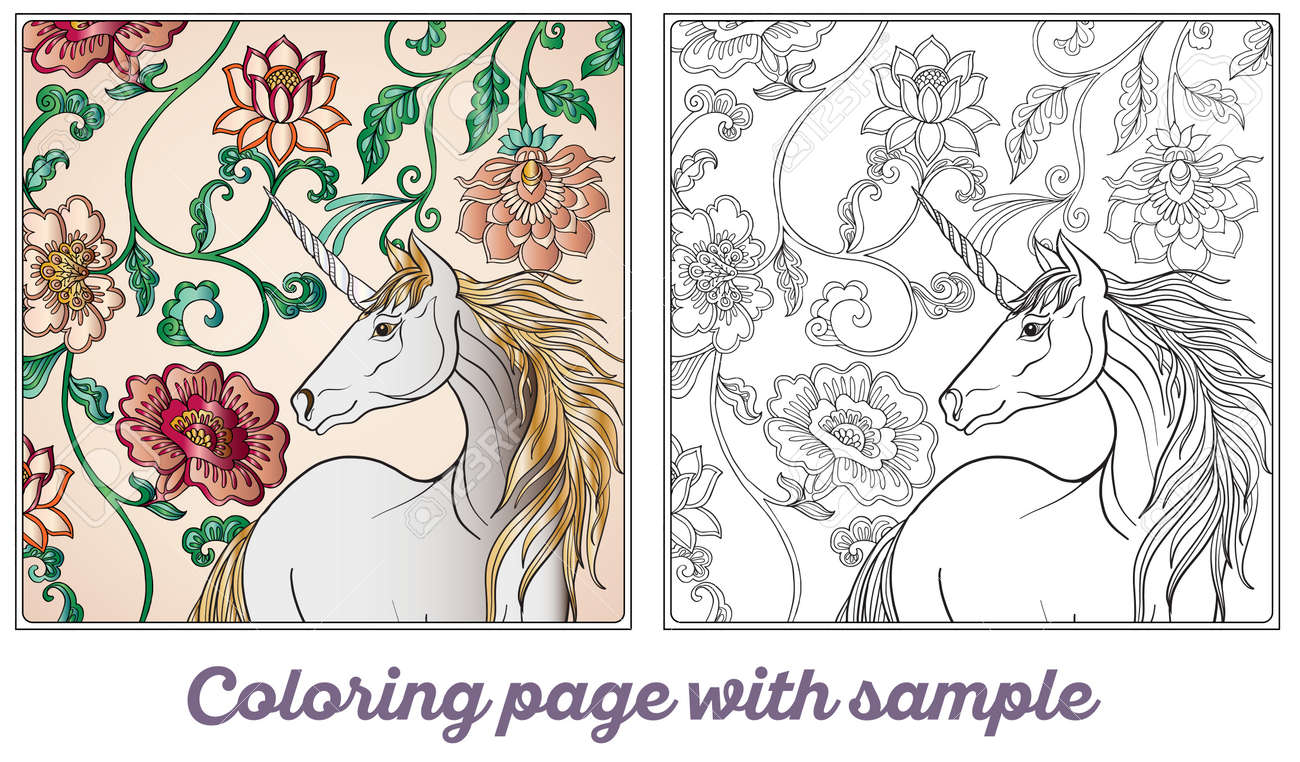 unicorn in magical garden vintage decorative floral pattern background illustration coloring book for - Magical Garden Coloring Book
