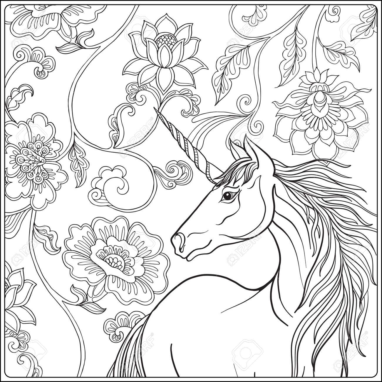 Unicorn dans le jardin magique. Vintage décoratif motif floral fond.  illustration colorée. livre à colorier pour les adultes et les enfants plus  âgés. ...