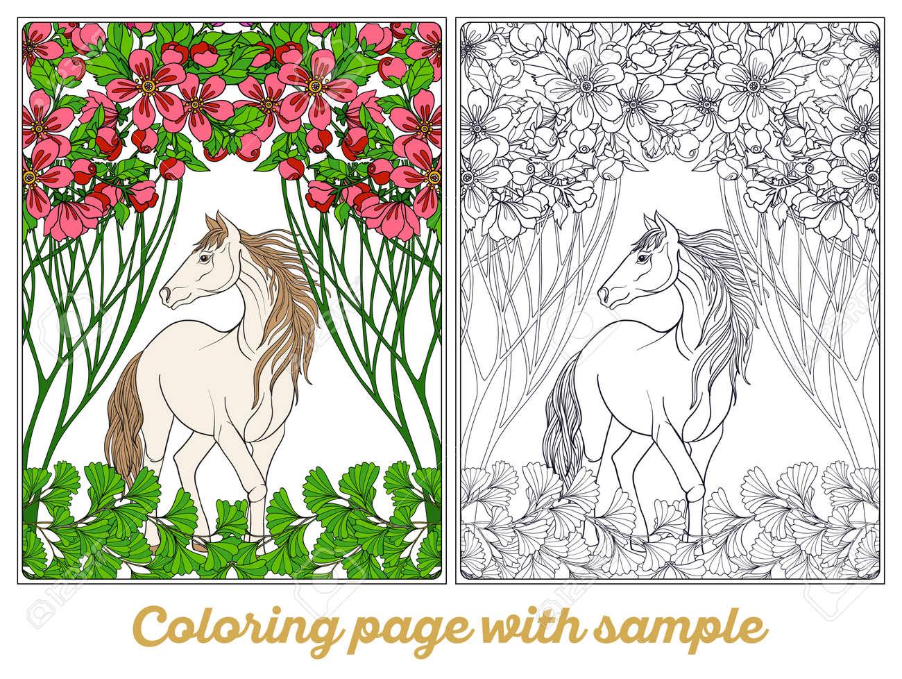 Pferd Im Garten. Illustration. Malbuch Für Erwachsene Und ältere ...