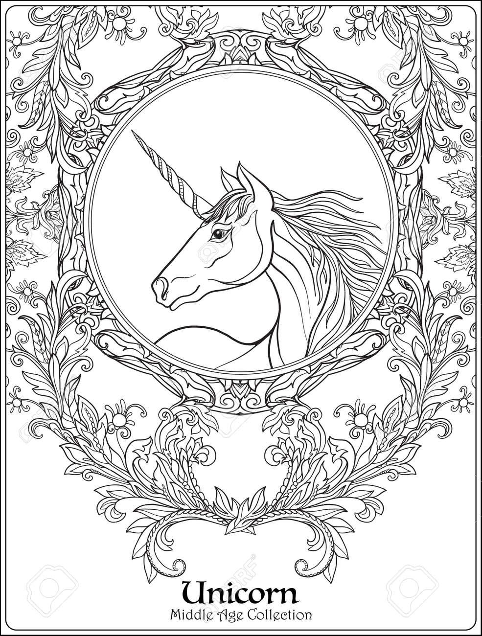 Unicornio En El Marco Mandala Floral Decorativo De La Vendimia
