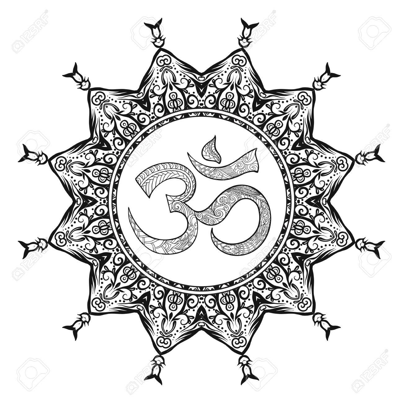 Signo Deco Mandalawith Om Diseño Modelado Del Elemento Amuleto étnico Lucha Contra El Estrés Colorear Libro Para Adultos Esbozar Dibujo Para