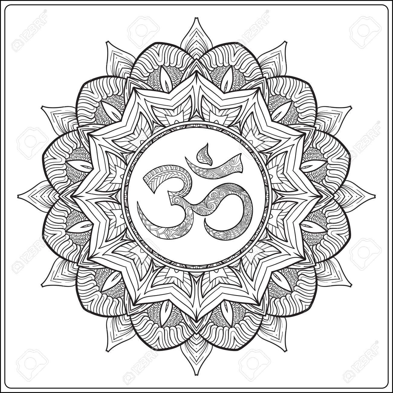 Deco Mandala Con Om Señal Diseño Modelado Del Elemento Amuleto étnico Lucha Contra El Estrés Colorear Libro Para Adultos Esbozar Dibujo Para