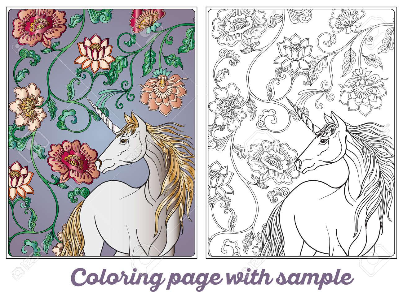 Licorne Dans Un Jardin Magique Fond Decoratif Decoratif Vintage Illustration Livre A Colorier Pour Enfants Adultes Et Plus Ages Dessin De Dessin
