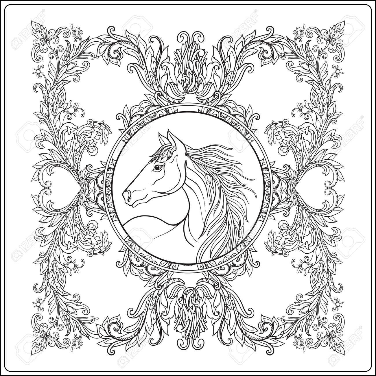 Coloriage Adulte Vintage.Cheval Dans Le Cadre Vintage Mandala Floral Decoratif Illustration