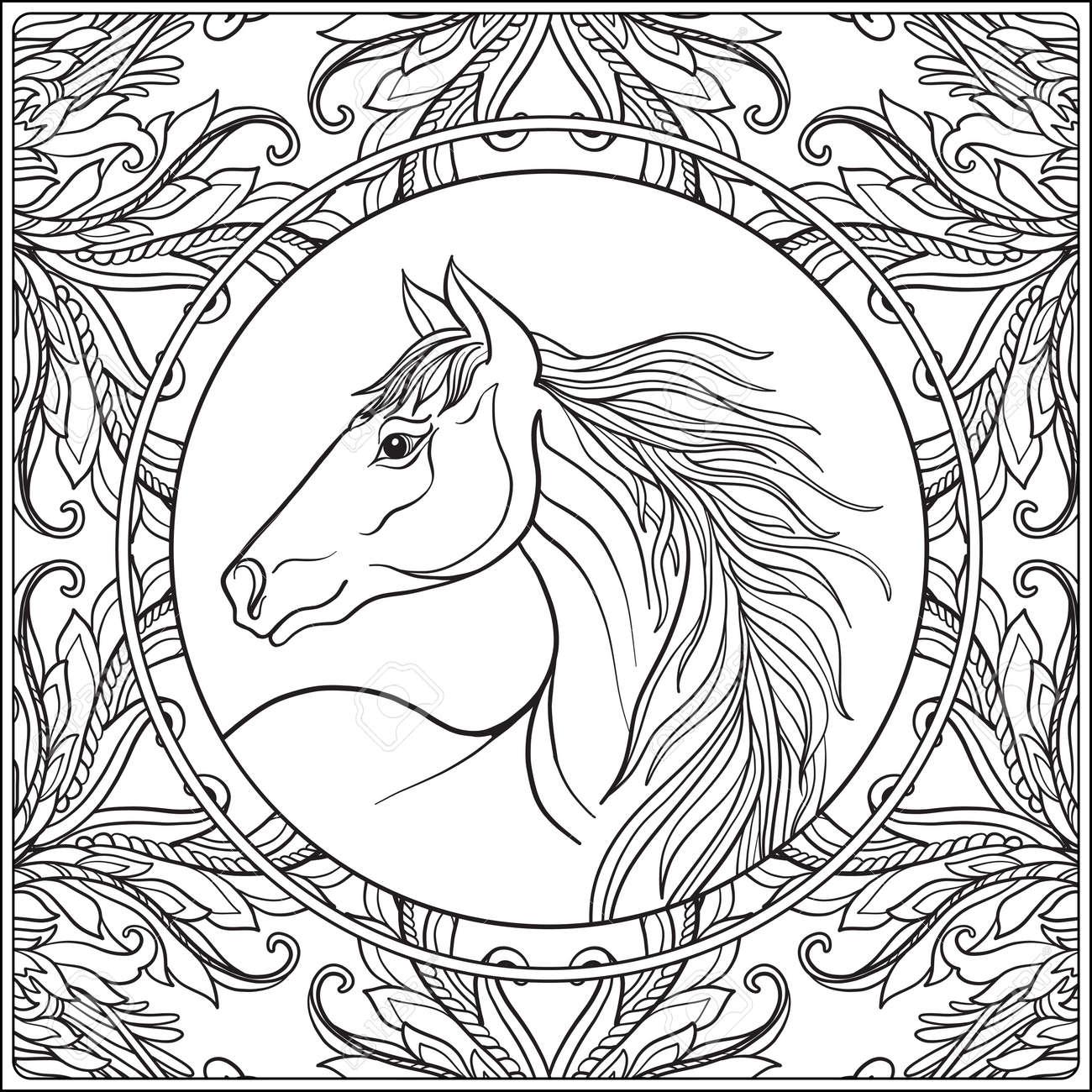 Horse In Vintage Decorative Floral Mandala Frame Illustration Coloring Book For Adult And Older