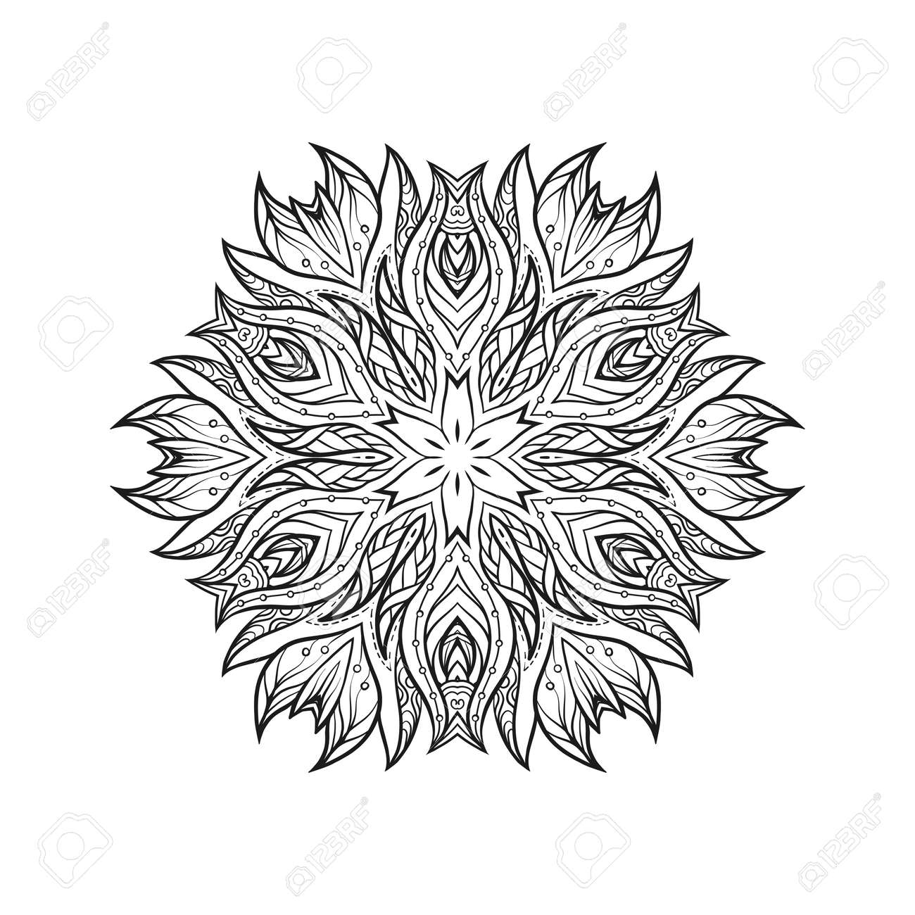 Coloriage A Colorier En Ligne Adulte.Deco Mandala Patterned Element Amulette Ethnique Anti Stress