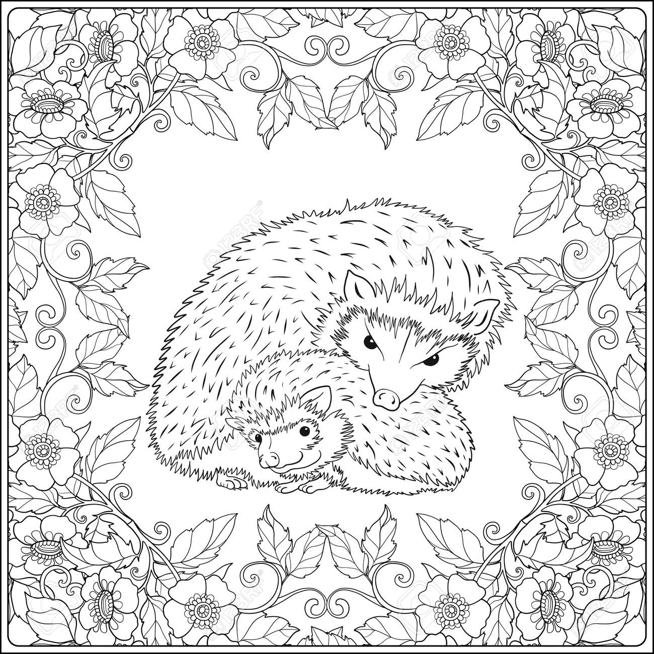 Coloring Page With Lovely Mother Hedgehog And Her Small In The Garden Book