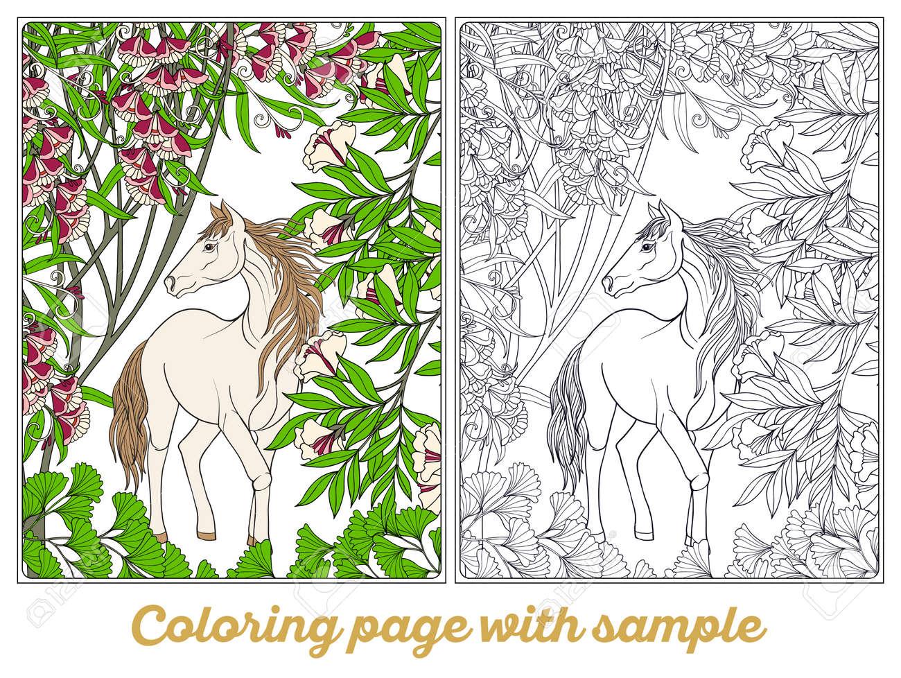 Vettoriale Cavallo In Giardino Illustrazione Libro Da Colorare