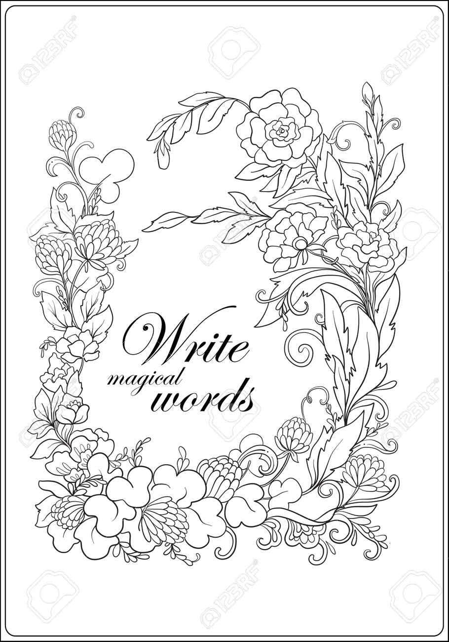 Libro Para Colorear Contra El Estrés Para Adultos Esquema Dibujo Marco Floral Con Espacio Para Texto Ilustración De La Línea De Valores