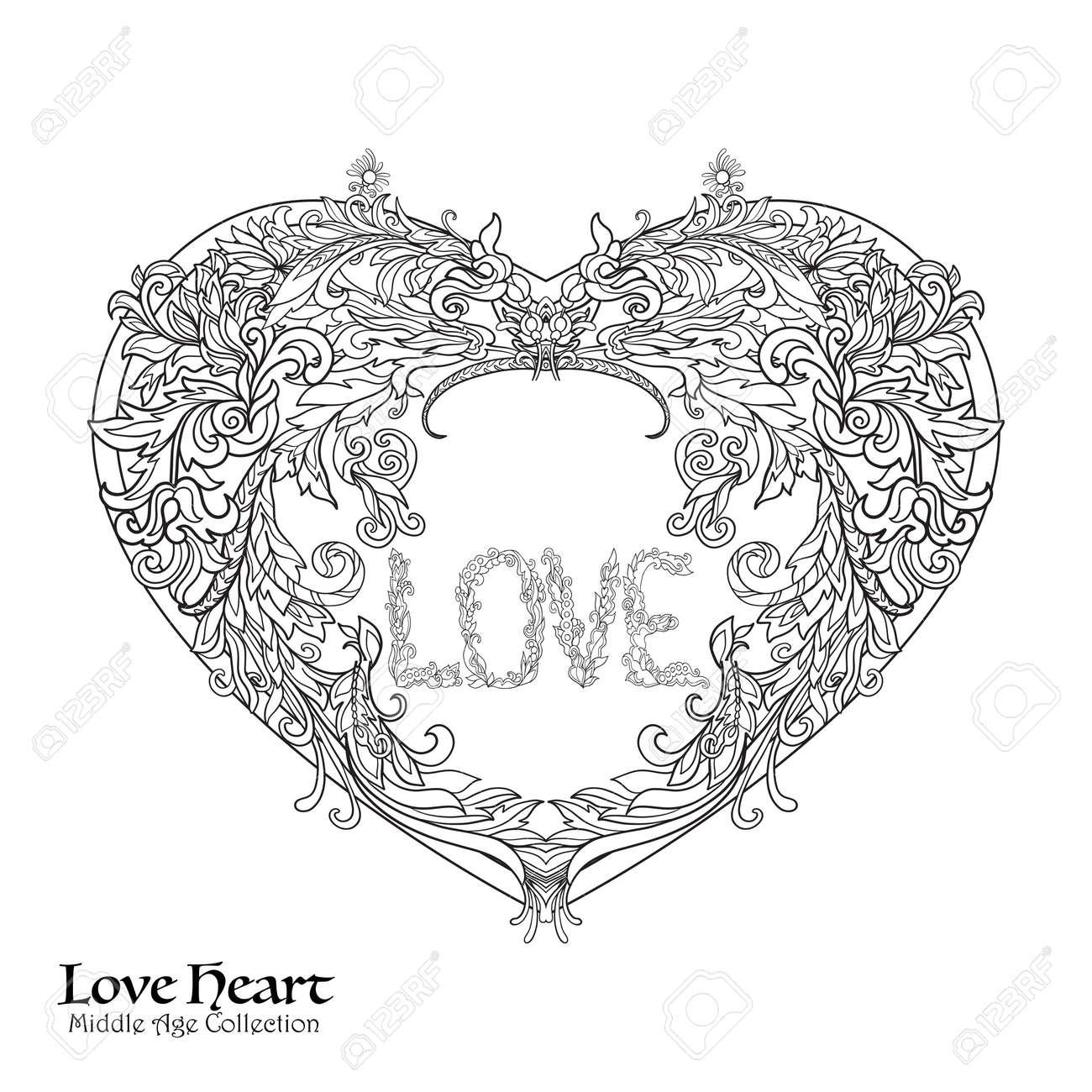 Coloriage Dun Coeur Damour.Coeur D Amour Decoratif En Rocaille Renaissance Style Royal
