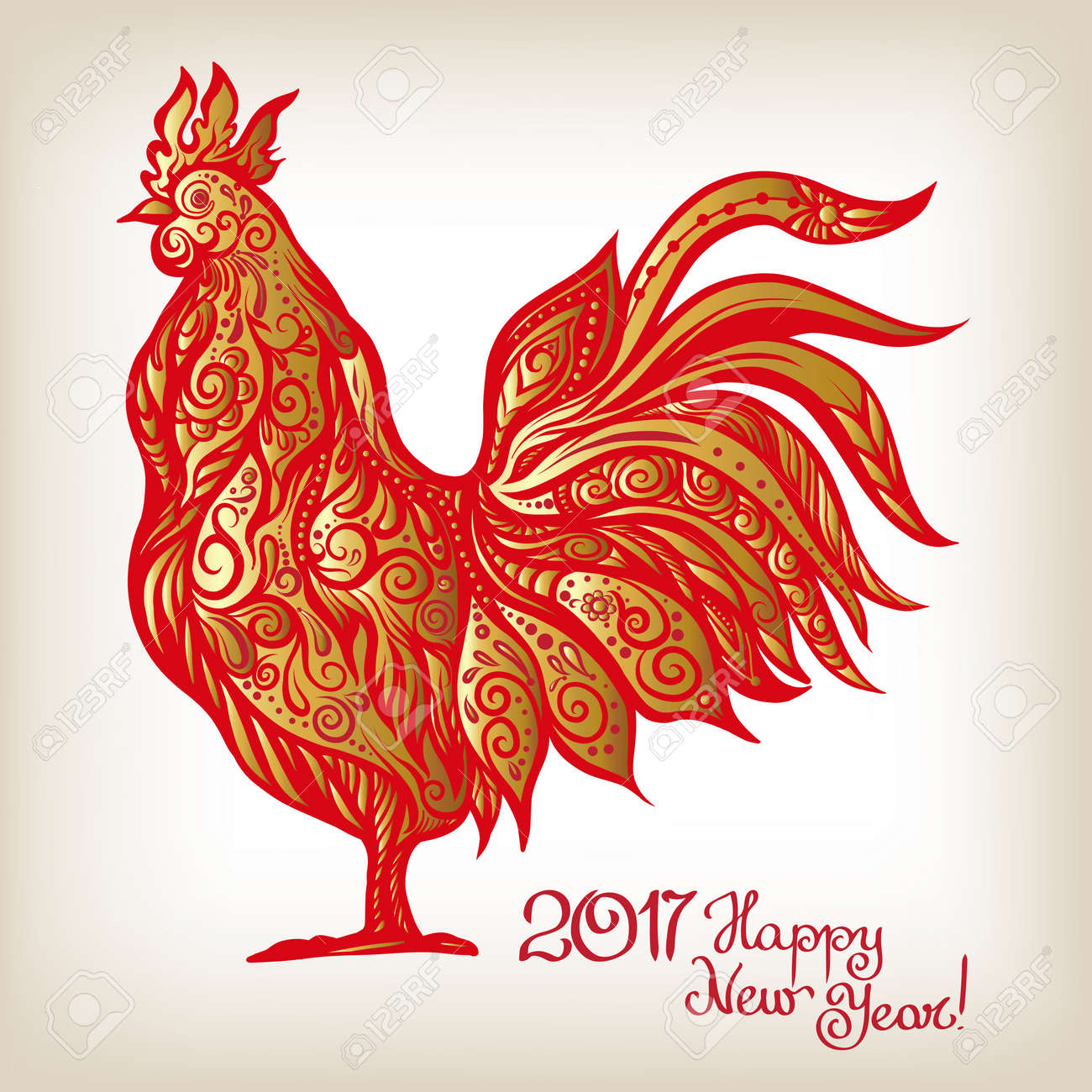 Decorative colored rooster chinese new year symbol 2017 new chinese new year symbol 2017 new year colored illustration with buycottarizona Gallery