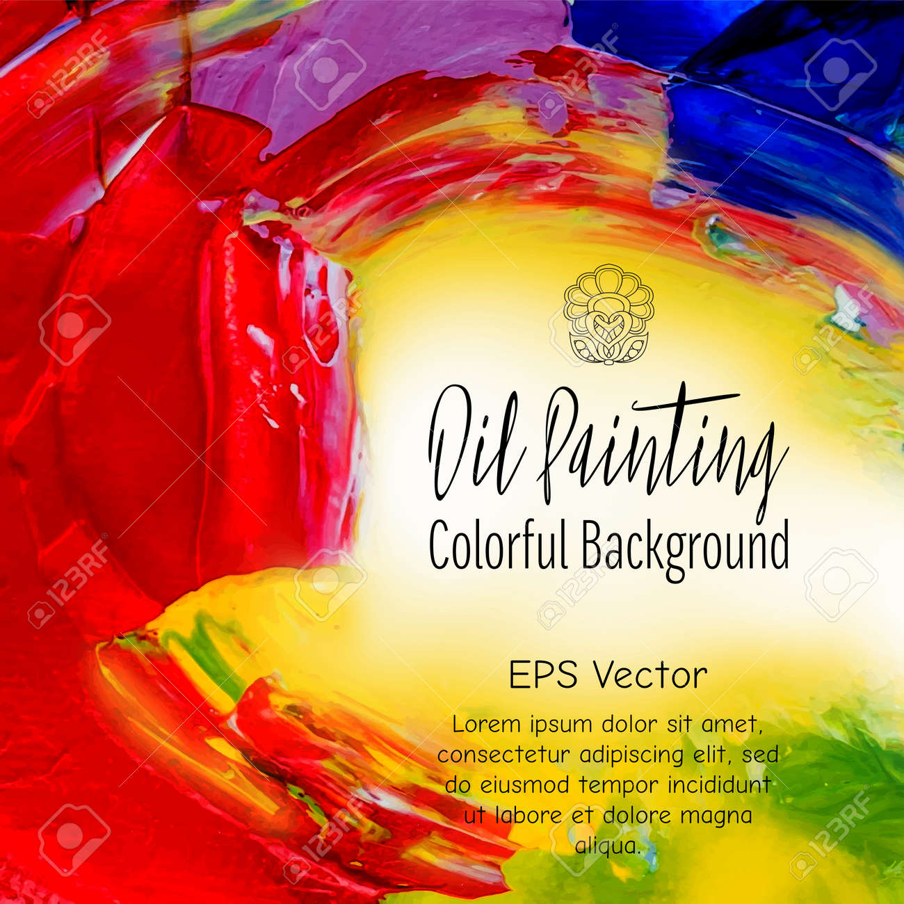 Abstract Oil Painting Background. Colourful Template. Unique ...