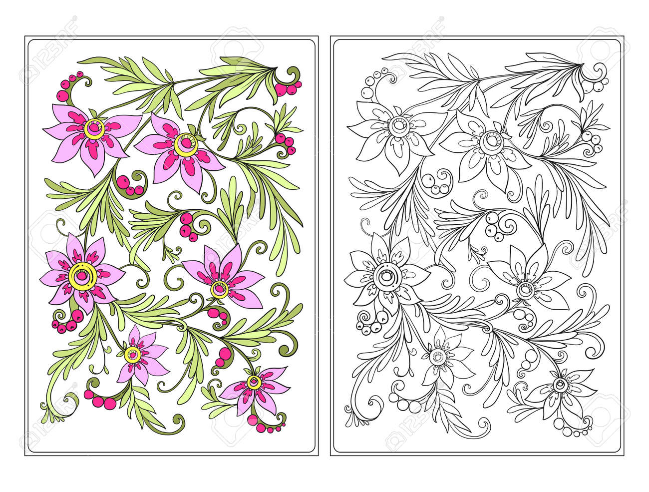 Floral Pattern Flower Background With Flowers Anti Stress Coloring Book For