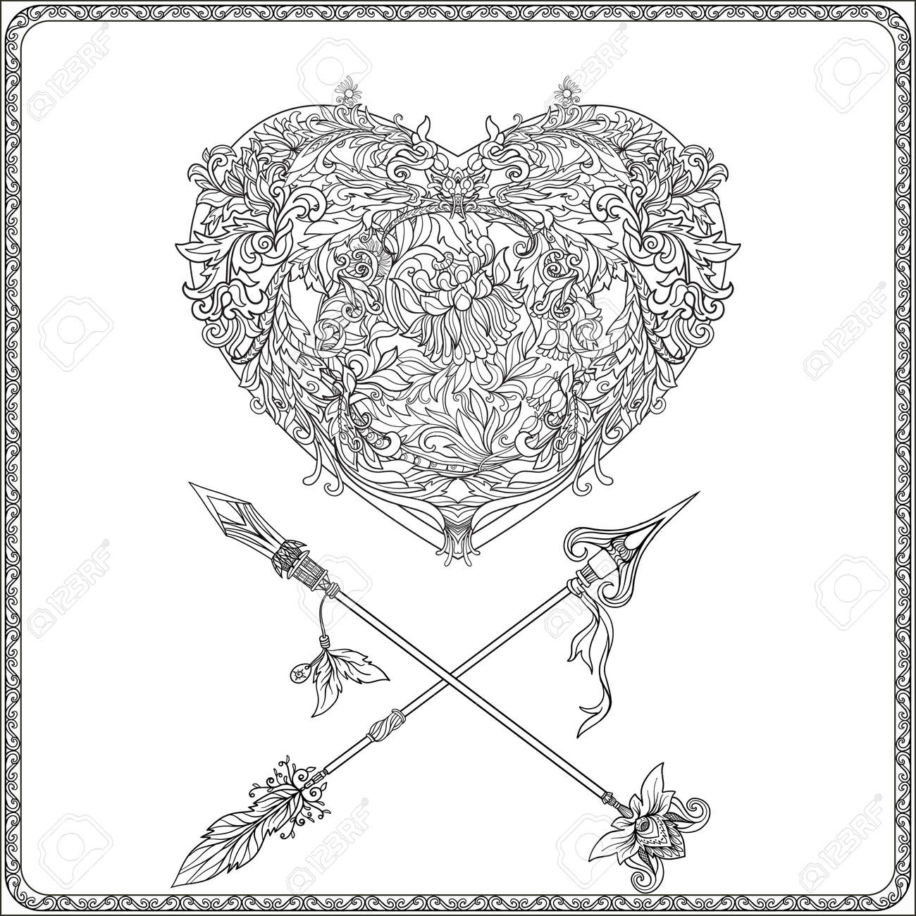 Coloriage Carte Anniversaire Adulte.Coeur D Amour Decoratif Avec Des Fleches Decoratifs En Rocaille Renaissance Style Royal Baroque Victorien Carte De Voeux Pour Anniversaire