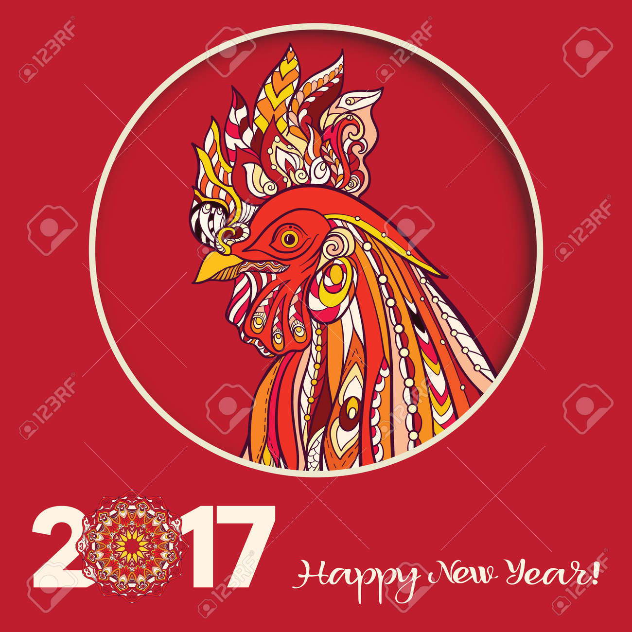 Decorative colored rooster chinese new year symbol 2017 new chinese new year symbol 2017 new year colored illustration on red buycottarizona Gallery