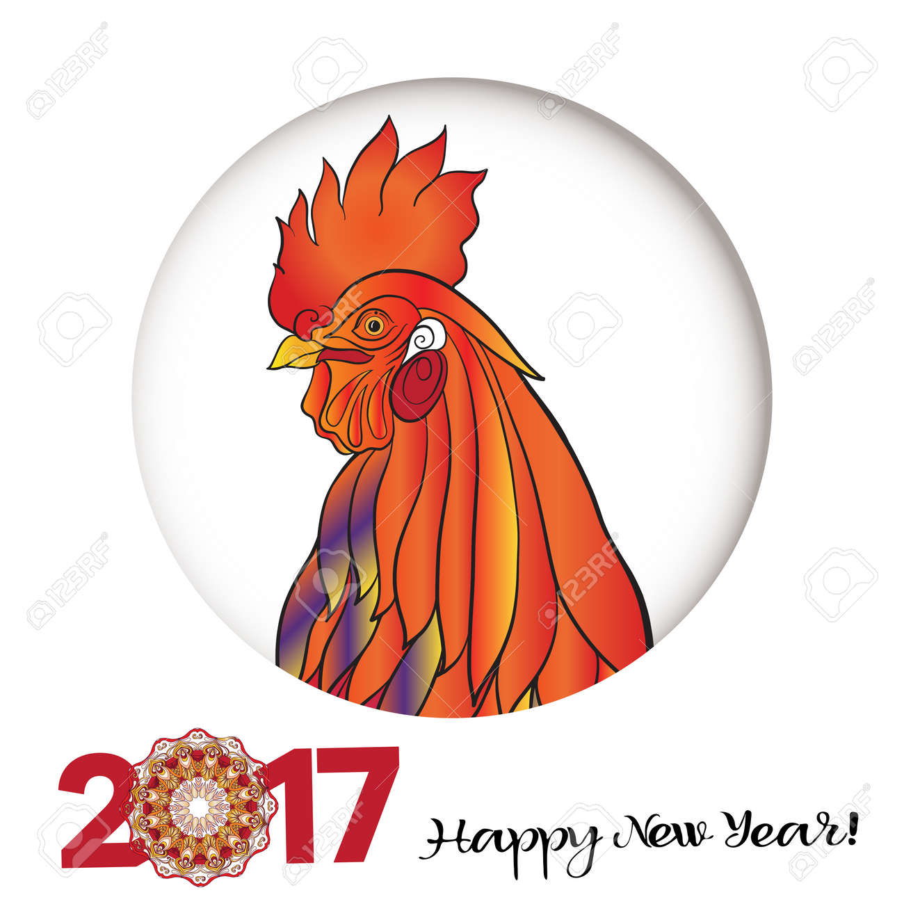 Decorative colored rooster chinese new year symbol 2017 new year decorative colored rooster chinese new year symbol 2017 new year colored illustration with biocorpaavc