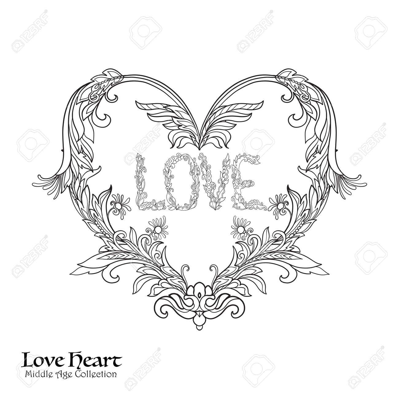 Coeur D Amour Décoratif En Rocaille Renaissance Style Royal Baroque Victorien Bon Pour Carte De Voeux Pour L Anniversaire Invitation