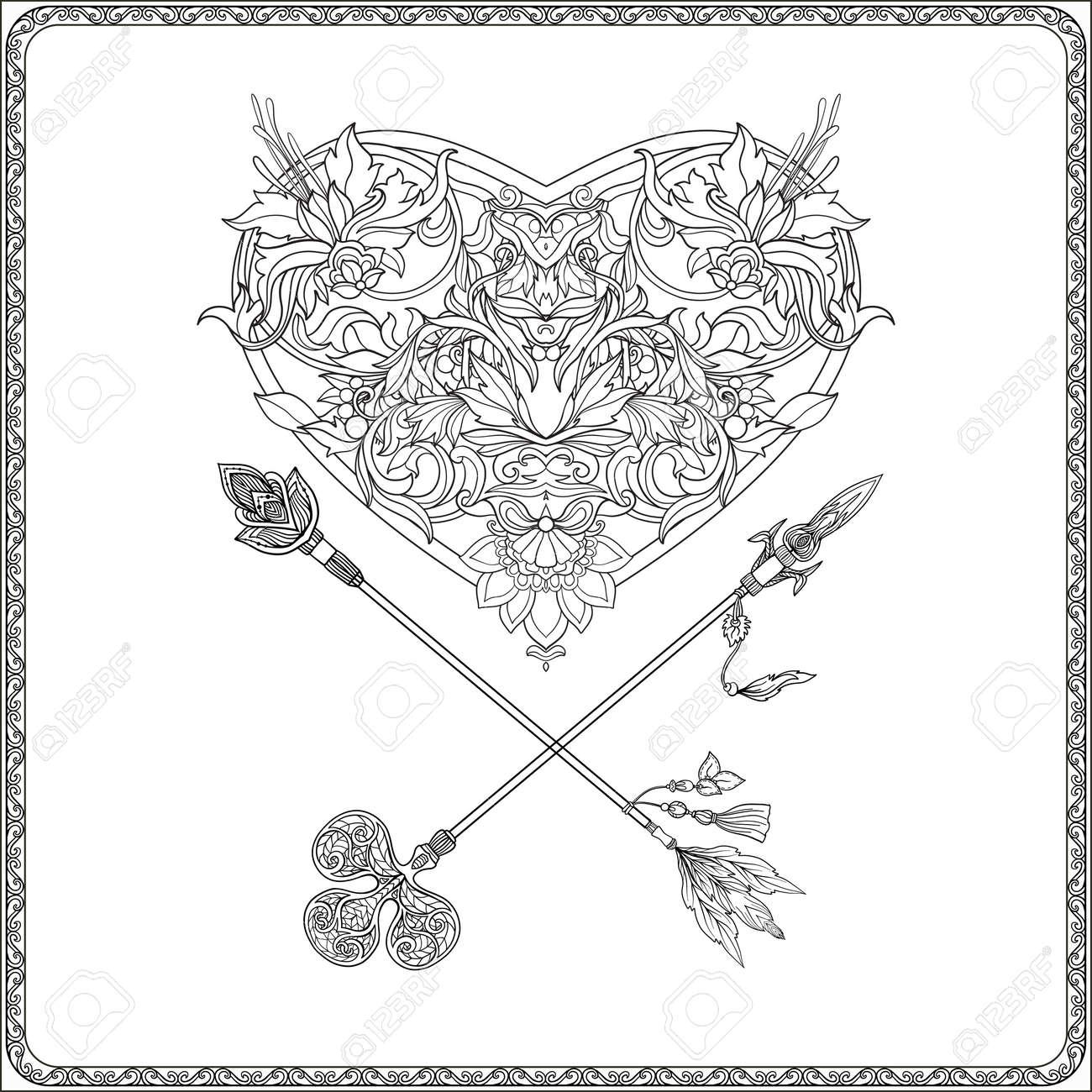 Kleurplaten Voor Volwassenen Verjaardag.Decoratieve Hart Van De Liefde Met Decoratieve Pijlen In Rococo