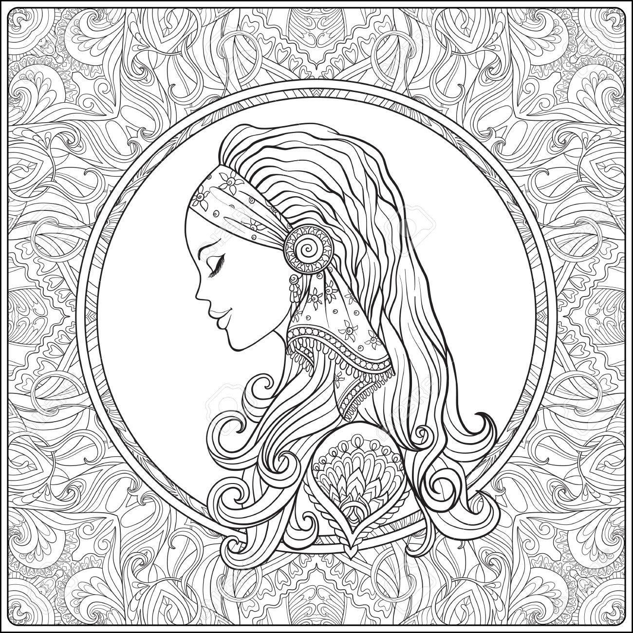 Jeune Femme Avec De Longs Cheveux En Costume Medieval Decoratif Motif De Fond Portrait De Profil Le Style Decoratif Vecteur Ligne Stock Illustration Livre A Colorier Pour Les Adultes Outline Dessin De
