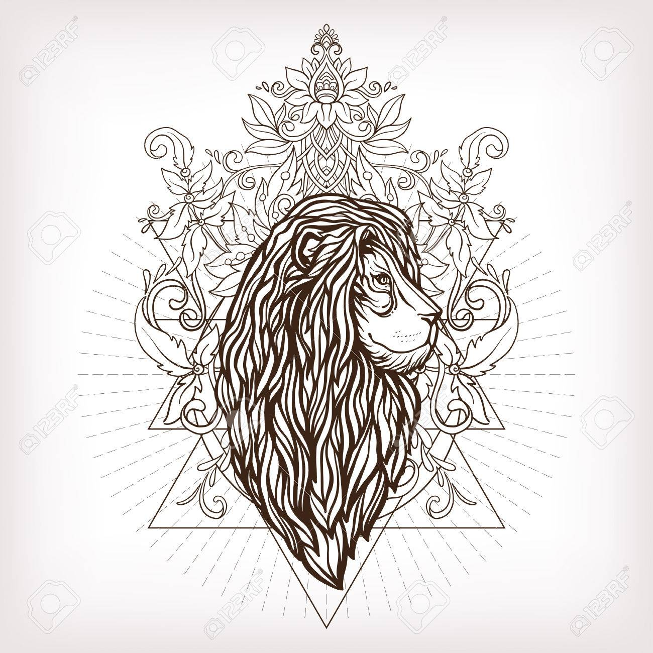 Vector Lion Ornemental Tete Avec La Geometrie Sacree Hand Drawn