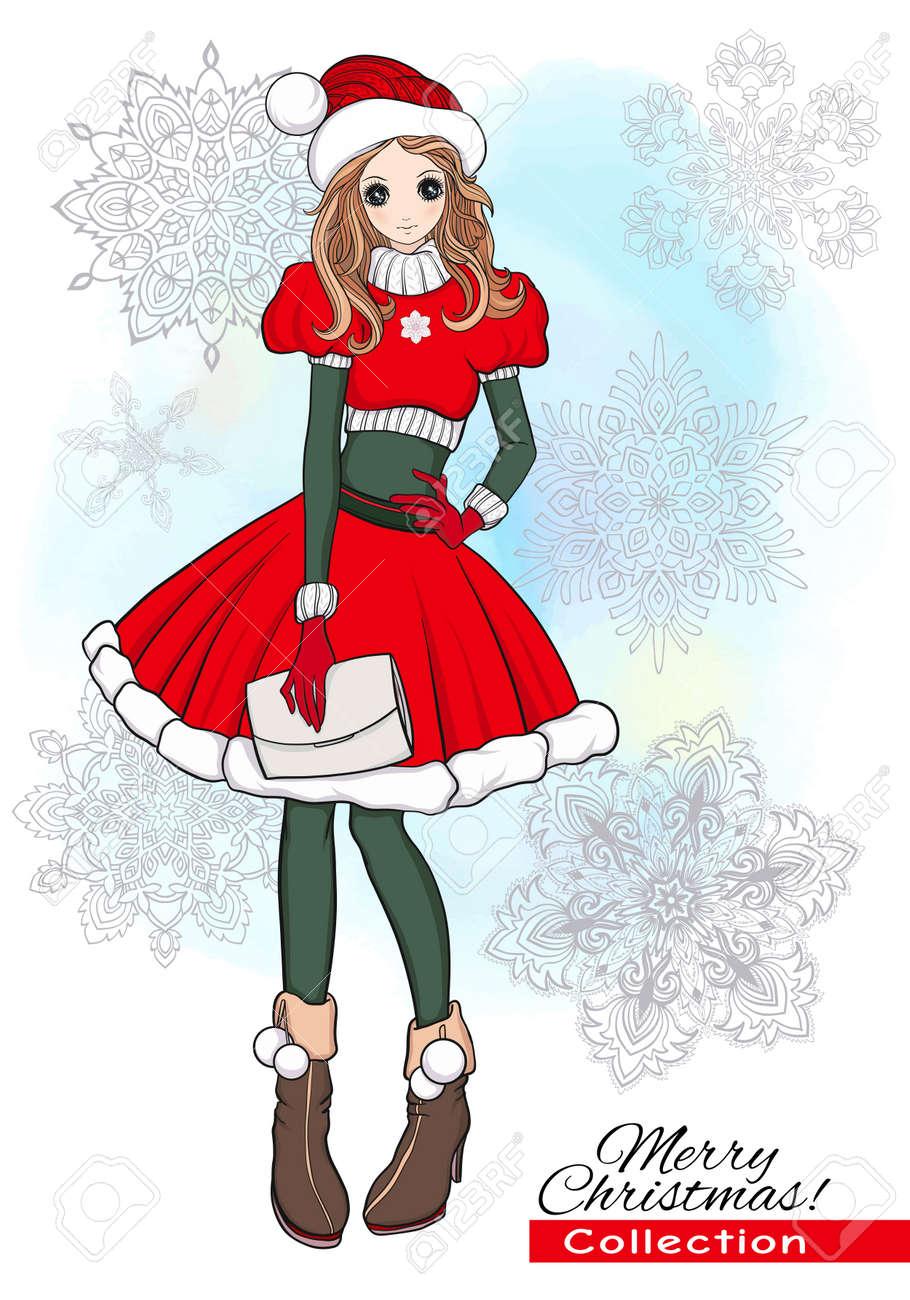 Noel Noel Hiver Concept De Bonheur Kawaii Dessin Anime Doodle