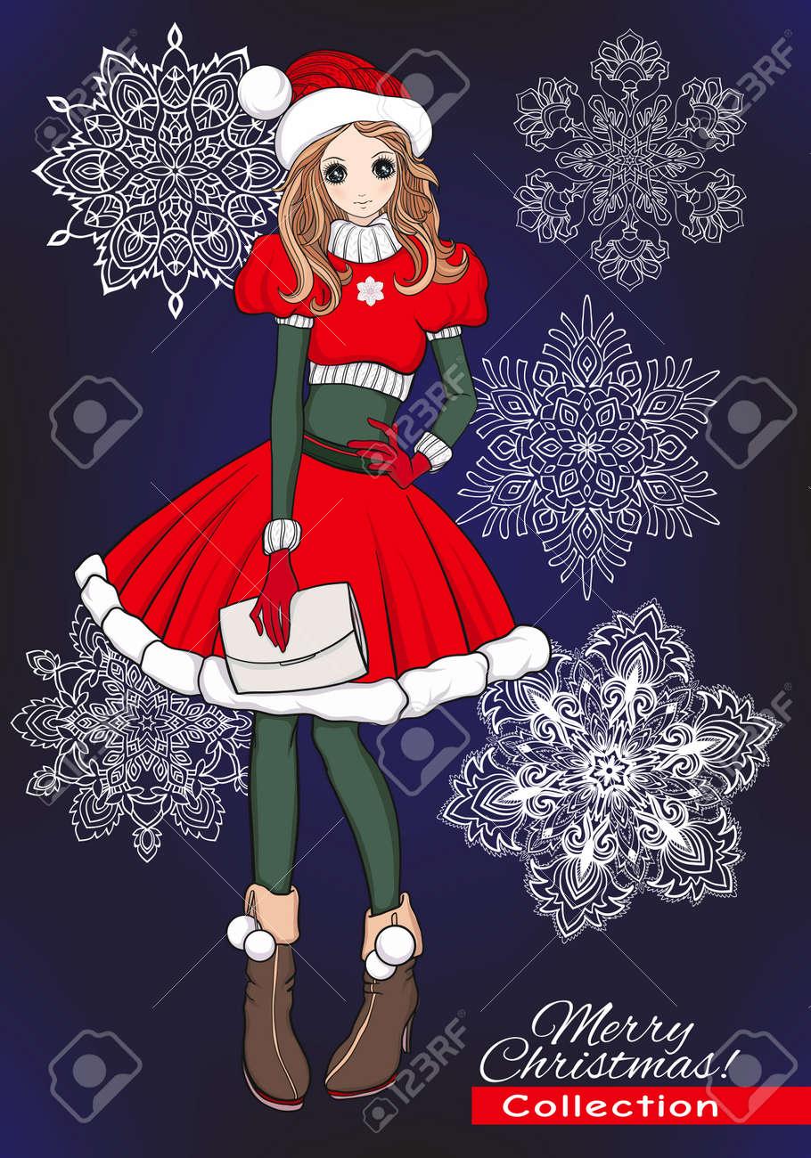 Noël Noël Hiver Concept De Bonheur Fille De Griffonnage De Dessin Animé Kawaii En Bonnet D Assistance Et Costume Avec Des Flocons De Neige
