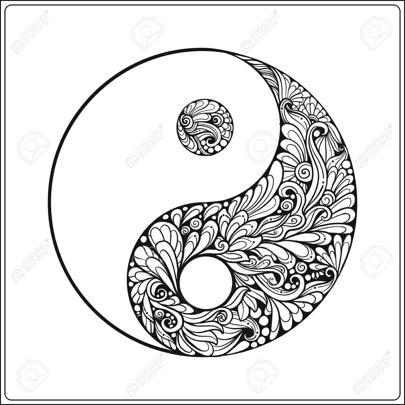 Symbol Of Yin And Yang In Gold On Black Background Coloring