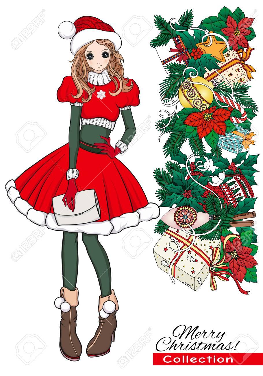 Noël Noël Hiver Concept De Bonheur Fille De Griffonnage De Dessin Animé Kawaii En Bonnet Dassistance Et Costume Avec Une Couronne De Noël